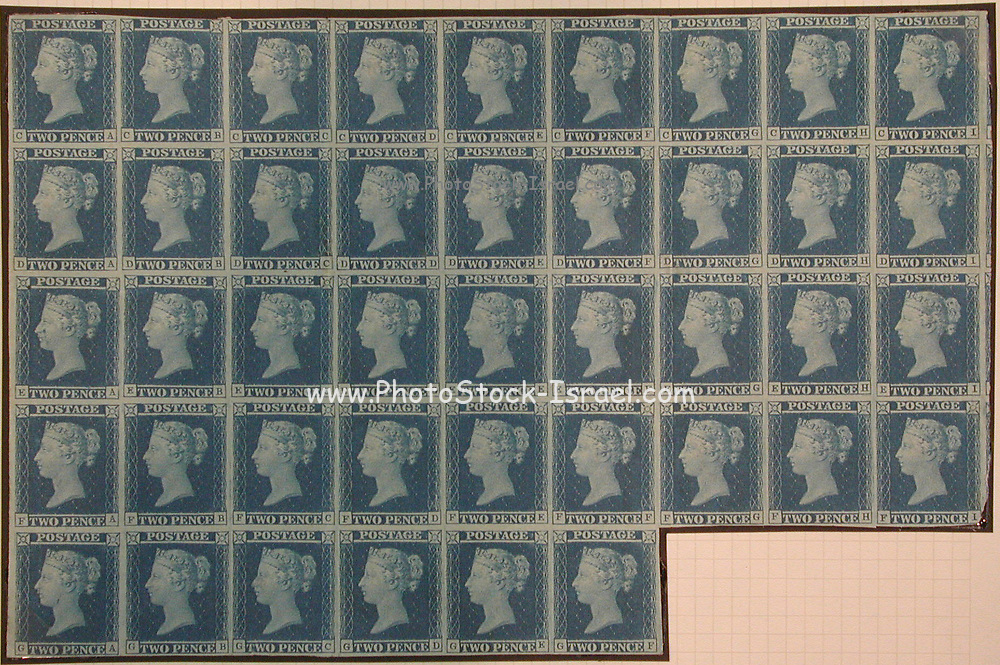 """Unused block of forty-two """"Two Penny Blue"""" postage stamps of Queen Victoria<br /> issued March 13, 1841 After a design by William Wyon"""