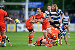 Ben Youngs of Leicester Tigers passes the ball - Photo mandatory by-line: Patrick Khachfe/JMP - Mobile: 07966 386802 23/05/2015 - SPORT - RUGBY UNION - Bath - The Recreation Ground - Bath Rugby v Leicester Tigers - Aviva Premiership Semi-Final