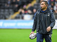 Connacht's Head Coach Pat Lam looks on during the pre match warm up.<br /> Guinness Pro12 rugby match, Ospreys v Connacht rugby at the Liberty Stadium in Swansea, South Wales on Saturday 7th January 2017.<br /> pic by Craig Thomas, Andrew Orchard sports photography.