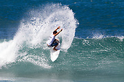 Ariihoe Tefaafana of Tahiti wins round 1 heat 8 advancing on to round 2 of the Hawaiian Pro 2017 at Haleiwa Beach, Hawaii