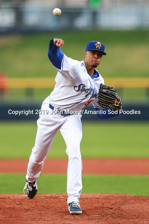 Amarillo Sod Poodles pitcher Reggie Lawson (9) pitches against the Springfield Cardinals on Sunday, Jan. 6, 2019, at HODGETOWN in Amarillo, Texas. [Photo by John Moore/Amarillo Sod Poodles]