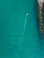 Aerial view of boat arriving to harbor in Patras, Greece