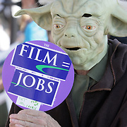 Betty McKenzie is pictured dressed as Yoda from Star Wars during a pro film incentives rally Sunday May 4, 2014 in Wilmington, N.C. (Jason A. Frizzelle)