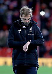 Liverpool manager Jurgen Klopp before the Emirates FA Cup, fourth round match at Anfield, Liverpool.