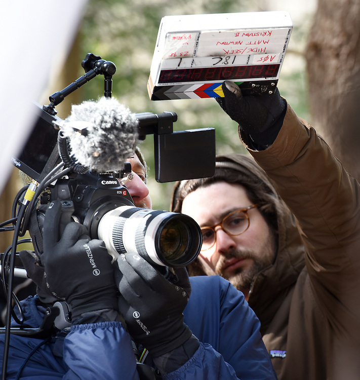 """April 5, 2016, Guilford, CT<br /> Mara Lavitt -- Special to the Hartford Courant<br /> Guilford native Matt Newton of Greenwich on his family's property in Guilford making his horror short-film """"Hide/Seek."""" Director of photography Kristian Borysevicz of NYC, left, and Guilford native and first assistant camera Shane Rubano of NYC get ready to film a scene."""