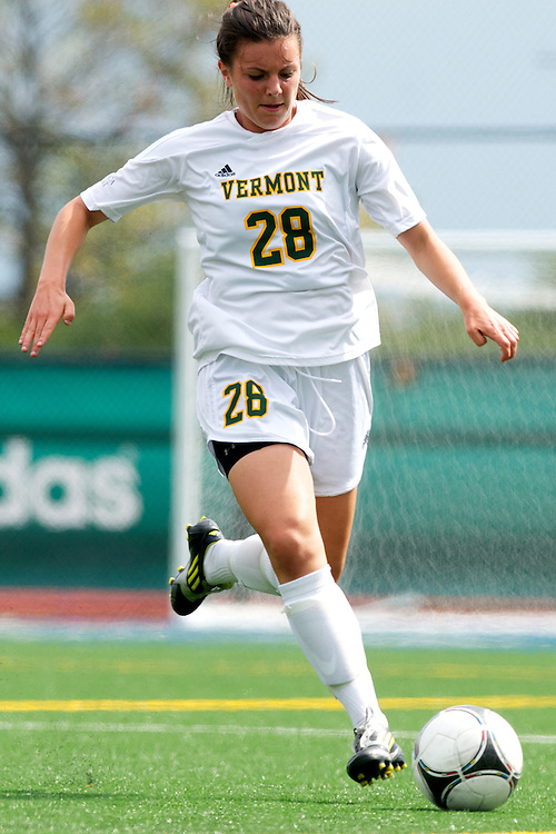 Vermont defenseman Jill Dellipriscoli (28) in action during the women's soccer game between the Brown Bears and the Vermont Catamounts at Virtue Field on Saturday afternoon September 8, 2012 in Burlington, Vermont.