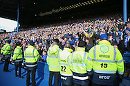 Sheffield Wednesday fans celebrating during the Sky Bet Championship match between Sheffield Wednesday and Cardiff City at Hillsborough, Sheffield, England on 30 April 2016. Photo by Ellie Hoad.
