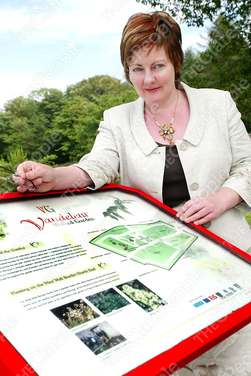 Kilrush Feature. Inside the entrance to the Vandeleur Walled garden Fiona Mooney (Secretary to Vandeleur Walled garden, Town Clerk & Secretary of Kilrush Amenity Trust) takes in the peace and quiet of the surroundings. Pic. Emma Jervis/ Press 22