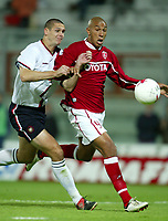 Perugia 15/10/2003 Uefa Cup 1st round return match <br />Perugia Dundee 1-0 <br />Jay BOTHROYD  (Perugia) challenged by Lee WILKIE (Dundee)
