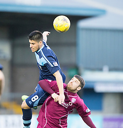 Forfar Athletic's Lewis Milne over Arbroath's Bobby Linn. half time : Forfar Athletic 0 v 0 Arbroath, Scottish Football League Division Two game played 10/12/2016 at Station Park.