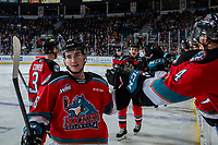KELOWNA, BC - OCTOBER 12:  Liam Kindree #26 of the Kelowna Rockets fist bumps the bench to celebrate a second period goal against the Kamloops Blazers at Prospera Place on October 12, 2019 in Kelowna, Canada. (Photo by Marissa Baecker/Shoot the Breeze)