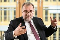 03 MAY 2021, BERLIN/GERMANY:<br /> Siegfried Russwurm, Praesident Bundesverband der Deutschen Industrie, BDI, und Aufsichtsratschef Thyssenkrupp, waehrend einem Interview, BDI, Haus der Wirtschaft<br /> IMAGE: 20210503-02-031