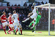 Leroy Fer of Swansea city (c) is denied by Middlesbrough goalkeeper Victor Valdes late in the game. Premier league match, Swansea city v Middlesbrough at the Liberty Stadium in Swansea, South Wales on Sunday 2nd April 2017.<br /> pic by Andrew Orchard, Andrew Orchard sports photography.
