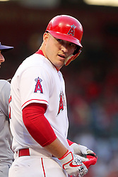 May 18, 2018 - Anaheim, CA, U.S. - ANAHEIM, CA - MAY 18: Mike Trout (27) of the Angels turns around on first base and laughs at walks was said from the Rays dugout during the major league baseball game between the Tampa Bay Rays and the Los Angeles Angels on May 18, 2018 at Angel Stadium of Anaheim in Anaheim, California. (Photo by Cliff Welch/Icon Sportswire) (Credit Image: © Cliff Welch/Icon SMI via ZUMA Press)
