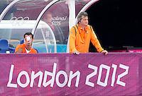 LONDEN - Bondscoach Paul van Ass,maandag in de hockey wedstrijd tussen de mannen van Nederland en India tijdens de Olympische Spelen in Londen .ANP KOEN SUYK