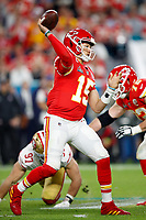 Kansas City Chiefs quarterback Patrick Mahomes (15) looks to pass during the NFL Super Bowl 54 football game between the San Francisco 49ers and Kansas City Chiefs Sunday, Feb. 2, 2020, in Miami Gardens, Fla<br /> <br /> ( Tom DiPace via AP)