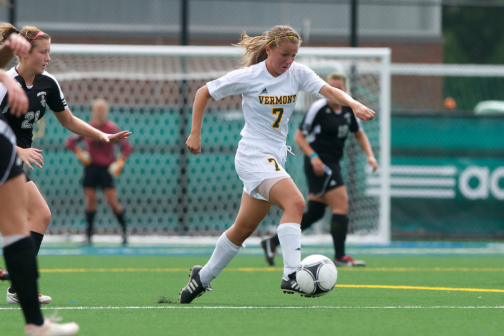 Vermont midfielder Alexandra Dezenzo (7) in action during the women's soccer game between the Brown Bears and the Vermont Catamounts at Virtue Field on Saturday afternoon September 8, 2012 in Burlington, Vermont.