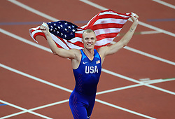 USA's Sam Kendricks celebrates gold in the Men's Pole Vault during day five of the 2017 IAAF World Championships at the London Stadium.