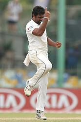 November 23, 2018 - Colombo, Sri Lanka - Sri Lankan cricketer Dilruwan Perera celebrates after taking a wicket  during the 1st day's play in the 3rd and final test cricket match between England and Sri Lanka at SSC international cricket stadium, Colombo, Sri Lanka. 11-23-2018  (Credit Image: © Tharaka Basnayaka/NurPhoto via ZUMA Press)