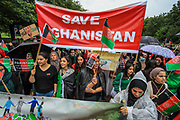 Demonstrators including former interpreters for the British Army hold placards and banners as they gathered near Marble Arch to protest for Afghanistan in central London against the Taliban on Saturday, Aug 21, 2021. (VX Photo/ Vudi Xhymshiti)