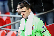 Cardiff goalkeeper and captain David Marshall leads out his team. Skybet football league championship match, Cardiff city v Rotherham Utd at the Cardiff city stadium in Cardiff, South Wales on Saturday 6th December 2014<br /> pic by Mark Hawkins, Andrew Orchard sports photography.