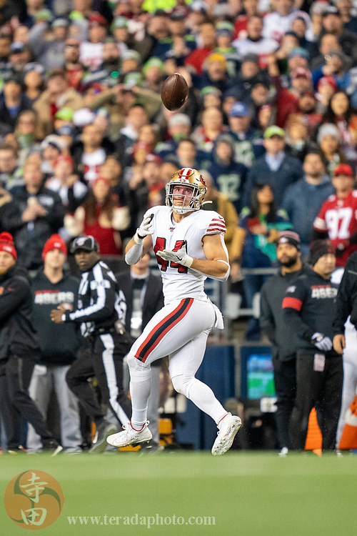 December 29, 2019; Seattle, Washington, USA; San Francisco 49ers fullback Kyle Juszczyk (44) during the third quarter against the Seattle Seahawks at CenturyLink Field.