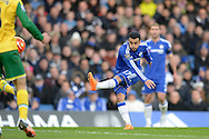 Pedro of Chelsea takes a shot for goal outside the 25 yard box. Barclays Premier league match, Chelsea v Norwich city at Stamford Bridge in London on Saturday 21st November 2015.<br /> pic by John Patrick Fletcher, Andrew Orchard sports photography.