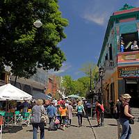 South America, Argentina, Buenos Aires. Street scene of La Boca.