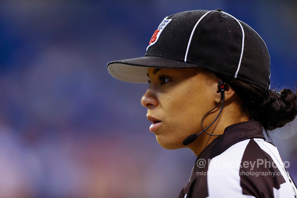 INDIANAPOLIS, IN - AUGUST 20: NFL referee Maia Chaka #136 is seen before the Indianapolis Colts verses the Baltimore Ravens game at Lucas Oil Stadium on August 20, 2016 in Indianapolis, Indiana.  (Photo by Michael Hickey/Getty Images) *** Local Caption *** Maia Chaka