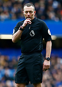 Referee Kevin Friend during an English Premier League soccer match between Chelsea and Everton at Stamford Bridge stadium, Sunday, March 8, 2020, in London, United Kingdom. Chelsea defeated Everton 4-0. (Mitchell Gunn-ESPA Images/Image of Sport via AP)