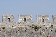 Crenelations on the walls of  Rozafa castle, Kalaja e Rozafës. Shkodër, Albania. 02Sep15