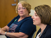 15 JULY 2019 - DES MOINES, IOWA: Senator AMY KLOBUCHAR (D-MN), right, speaks at a roundtable about senior citizen issues in Des Moines. Sen. Klobuchar hosted a roundtable on issues important to older Americans at a community center in Des Moines. Klobuchar is running to be the Democratic candidate for President in the 2020 election. Iowa hosts the first event of the Presidential election cycle. The Iowa Caucuses are on February 3, 2019.        PHOTO BY JACK KURTZ
