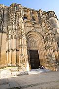 Gothic facade and doorway church Santa Maria de la Asuncion, Arcos de la Frontera, Cadiz province, Spain