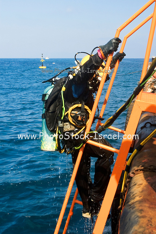 """Israel, Bay of Haifa, Offshore rig salvages the remains of the Israeli cargo vessel """"Shelly"""" that sunk 3km from the harbour after a collision with a passenger ship on August 31 2007. Commercial diver coming out of the Mediterranean sea. Cables from the surface are supplying electrical power for the lights, and allowing communication with the surface. The diver is using a helmet connected to an air supply on his back"""
