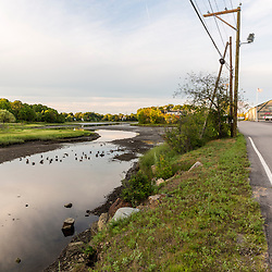 Hodgson Brook as it enters the North Mill Pond in Portsmouth, New Hampshire.