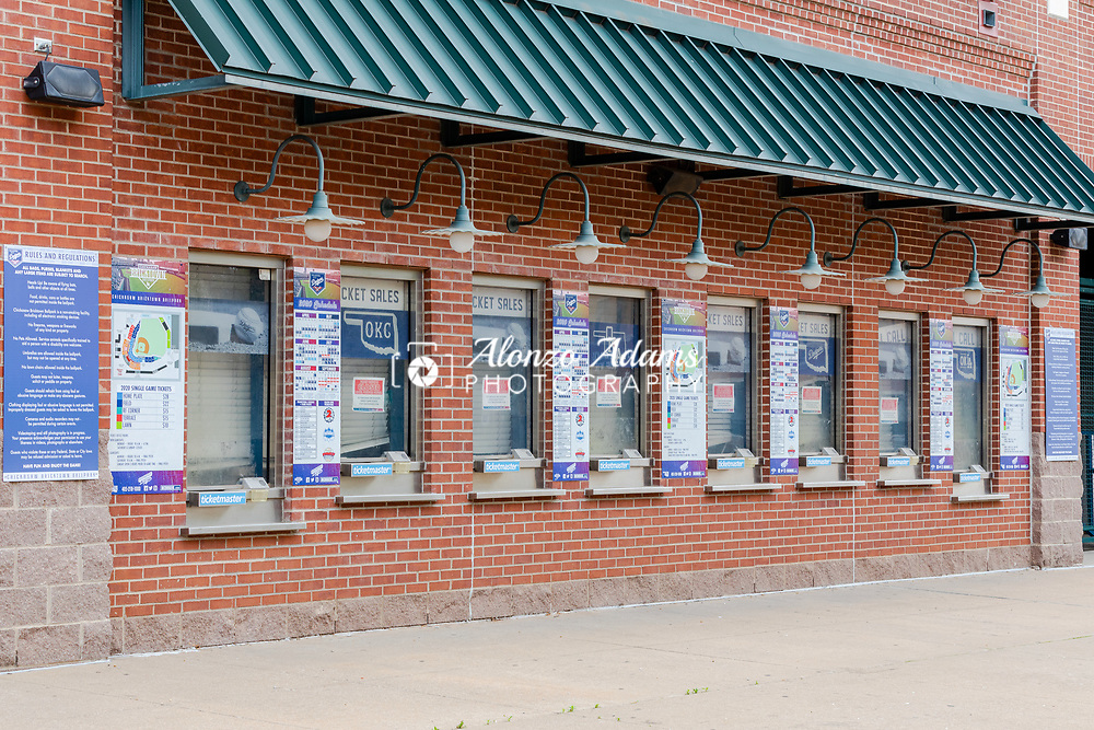 Ticket windows at the Chickasaw Bricktown Ballpark are temporarily closed in response to the COVID-19 pandemic on Friday, March 27, 2020. The ball park is home to the minor league Oklahoma City Dodgers baseball team. Photo copyright © 2020 Alonzo J. Adams.