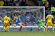 Portsmouth Defender, Jack Whatmough (16) scores an own goal to make it 3-1 during the EFL Sky Bet League 1 match between Portsmouth and Oxford United at Fratton Park, Portsmouth, England on 18 August 2018.