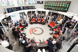 Traders pictured during an open outcry trading session, in 'The Ring' at the London Metal Exchange in London. Picture date: Tuesday March 15th, 2016. Photo credit should read: Matt Crossick/ EMPICS. The LME, the world's biggest market for base metals, is the only financial exchange in Europe to still use open outcry trading, where contracts are traded in intense 5-minute bursts.