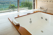 Interior of  luxury apartment furnished, comfortable bathroom with jacuzzi
