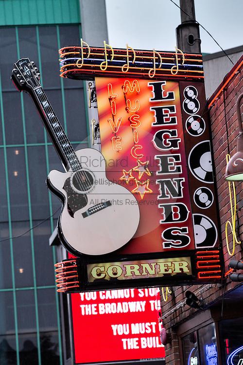 Sign for Legends Corner honky-tonk on lower Broadway in Nashville, TN.