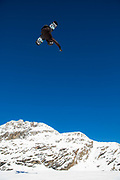 British freestyle snowboarder Matt McCormick during spring training on 05th May 2017 in Corvatsch, Switzerland. Piz Corvatsch is a mountain in the Bernina Range of the Alps, overlooking Lake Sils and Lake Silvaplana in the Engadin region of the canton of Graubünden.