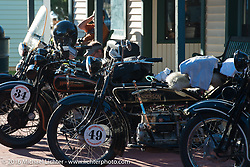 Frank Westfall's 1928 Henderson Deluxe at the Old Town Museum in Burlington, Colorado for the hosted dinner stop during Stage 8 of the Motorcycle Cannonball Cross-Country Endurance Run, which on this day ran from Junction City, KS to Burlington, CO., USA. Saturday, September 13, 2014.  Photography ©2014 Michael Lichter.