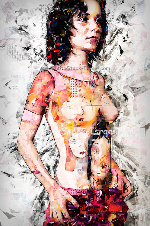 Body art - female model with porcelain dolls painted on her upper body. Digitally enhanced image