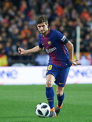 February 8, 2018 - Valencia, Valencia, Spain - Sergi Roberto of FC Barcelona during the spanish Copa del Rey semi-final, second leg match between Valencia CF and FC Barcelona at Mestalla Stadium, on February 8, 2018 in Valencia, Spain  (Credit Image: © Maria Jose Segovia/NurPhoto via ZUMA Press)