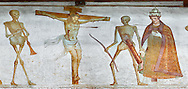 """Crucifiction fresco on the Church of San Vigilio in Pinzolo, part of its mural painting """"the Dance of Death"""" painted by Simone Baschenis of Averaria in1539, Pinzolo, Trentino, Italy.<br /> <br /> The mural continues for another 21 meters with a long procession with 40 figures.<br /> <br />  To the right of the skeletons playing music is a depiction of the crucification. Christ is depicted on the cross with an arrow in him that has been fired by a skeleton with a bow. This suggests that because Christ was a man he suffered the fate of death as we all will.<br /> After Christ is a Pope also pierced by a spear, as are all the human figures in the mural.<br /> <br /> Visit our MEDIEVAL ART PHOTO COLLECTIONS for more   photos  to download or buy as prints https://funkystock.photoshelter.com/gallery-collection/Medieval-Middle-Ages-Art-Artefacts-Antiquities-Pictures-Images-of/C0000YpKXiAHnG2k<br /> If you prefer to buy from our ALAMY PHOTO LIBRARY  Collection visit : https://www.alamy.com/portfolio/paul-williams-funkystock/san-vigilio-pinzolo-dance-of-death.html"""