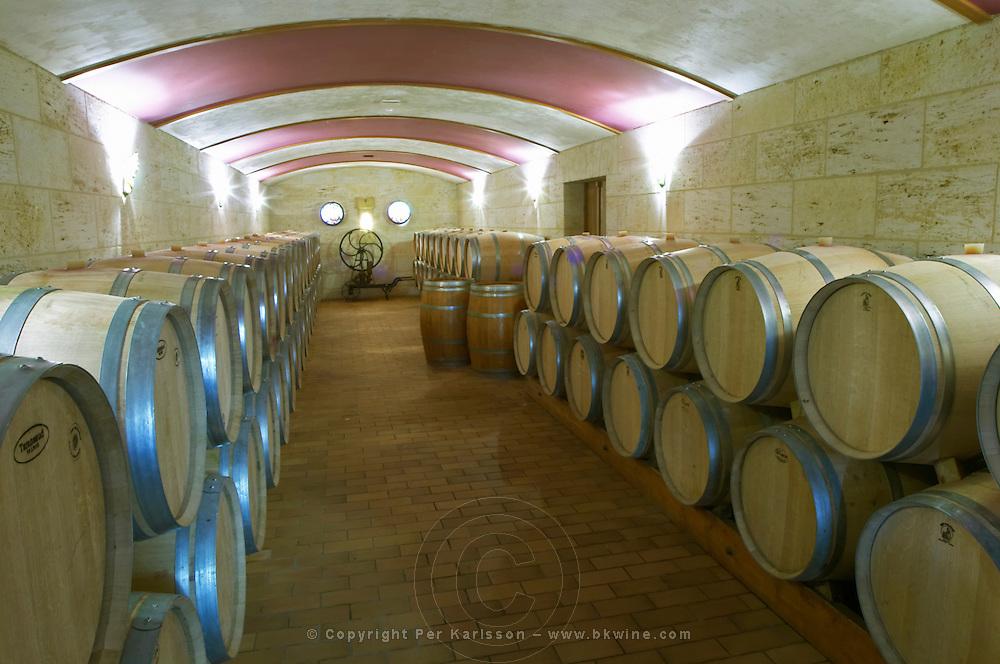 Oak barrel aging and fermentation cellar. Chateau la Grace Dieu les Menuts, Saint Emilion, Bordeaux, France