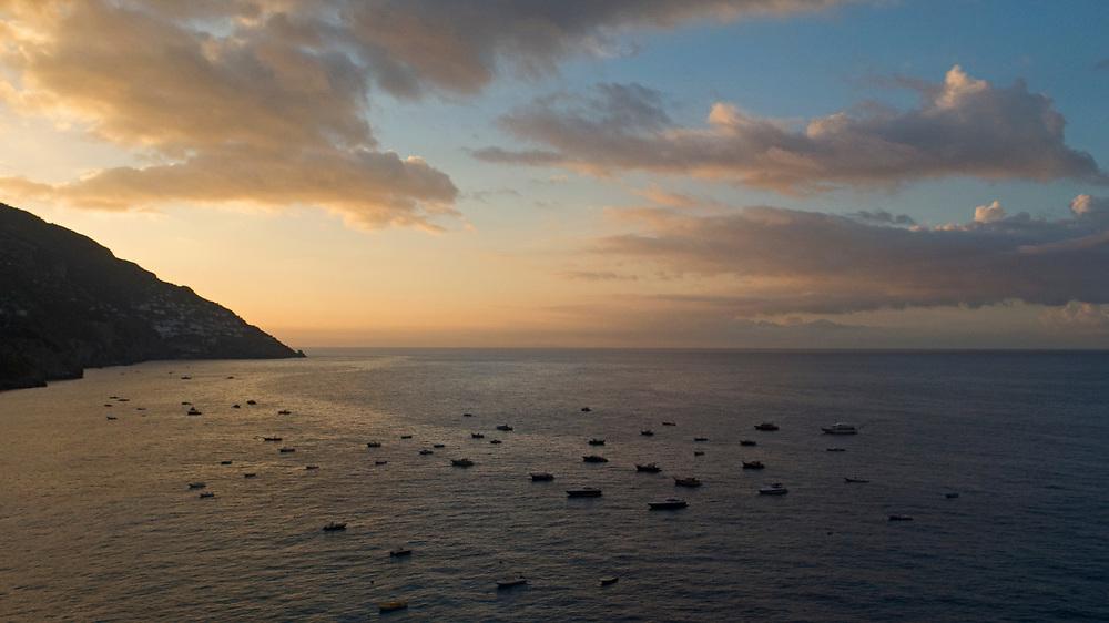 View of the Tyrrhenian sea at sunrise from Positano, Amalfi Coast, Italy