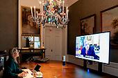 Koningin Maxima via een videoverbinging bij de G20