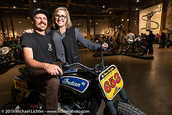 Joanna Kaczmarek and RSD's Cameron Brewer at the Handbuilt Show. Austin, TX. USA. Saturday April 21, 2018. Photography ©2018 Michael Lichter.