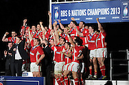 Wales players celebrate as they win the championship.  RBS Six nations championship 2013, Wales v England at the Millennium stadium in Cardiff , South Wales on Saturday 16th March 2013. pic by Andrew Orchard, Andrew Orchard sports photography,